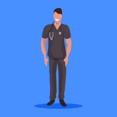 male doctor with stethoscope man medical clinic worker in dark uniform professional occupation concept cartoon character full length flat blue background vector illustration Illustration