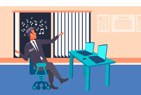 male security guard worker looking laptop screen listening music with headphones man in uniform sitting at workplace desk surveillance room interior full length horizontal flat vector illustration