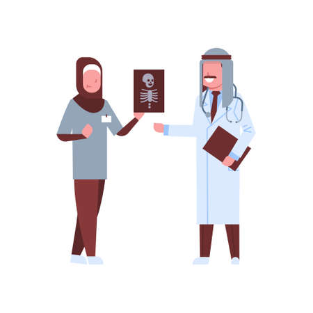 arab doctor and nurse examining x-ray hospital workers looking patient radiography cartoon characters full length medicine healthcare concept vector illustration