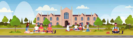 mix race students sitting on grass at campus yard in front of modern national university building exterior people preparing exam graduation education concept flat horizontal banner vector illustration
