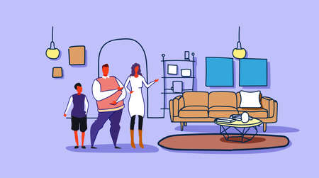 happy family husband wife and son standing together modern living room interior woman showing hand new apartment house sketch doodle horizontal full length vector illustration