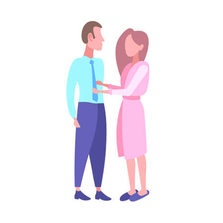 woman in bathrobe seeing off businessman in the morning before work happy couple lovers standing together full length flat white background vector illustration