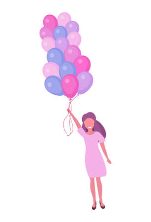 woman flying with colorful air balloons happy women day 8 march international holiday concept female character full length vertical white background flat vector illustration