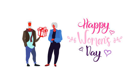 senior man giving present gift box to elderly woman happy women day 8 march holiday celebration concept white background horizontal greeting card full length sketch vector illustration