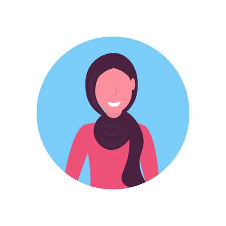 arab woman face avatar arabic girl wearing traditional hijab female cartoon character portrait flat white background vector illustration Illustration