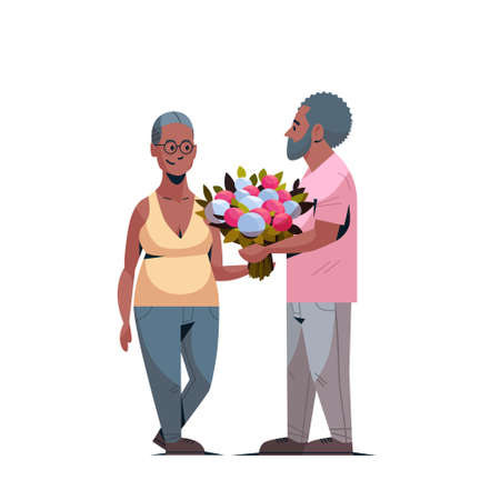 senior man presenting bouquet of flowers to elderly woman international happy womens day 8 march holiday concept african american couple in love white background full length vector illustration Stock Vector - 124766025