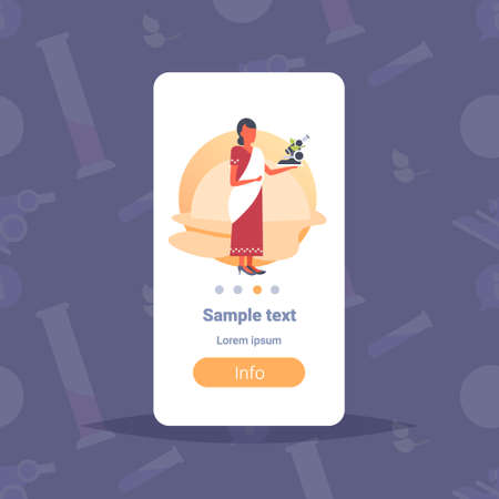 indian woman scientist holding microscope chemistry teacher school worker lady in traditional clothes saree female cartoon character full length flat copy space vertical vector illustration Illustration