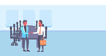 two businessmen shaking hands business men handshake agreement concept successful partnership meeting conference room interior full length horizontal vector illustration Illustration