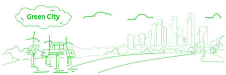 modern eco city with wind turbines and solar panels green energy concept skyscraper cityscape background sketch flow style horizontal banner vector illustration Standard-Bild - 124766031