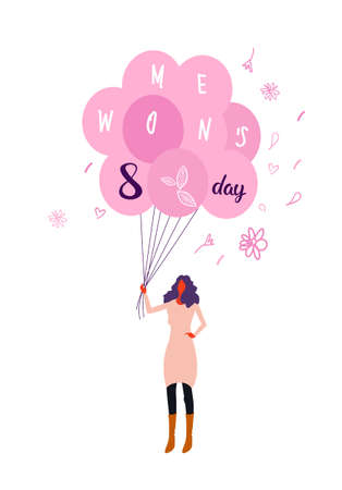 woman holding pink air balloons happy women day 8 march international holiday celebration concept female character full length vertical greeting card sketch vector illustration