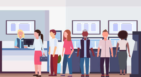mix race people waiting line queue to specialist at cash desk financial consulting center with reception and atm modern bank office interior horizontal flat vector illustration