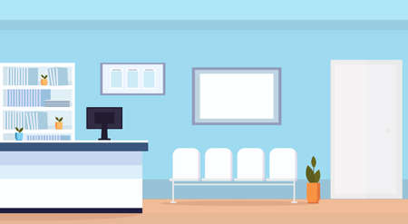 hospital reception waiting hall with seats empty no people medical clinic interior horizontal flat vector illustration