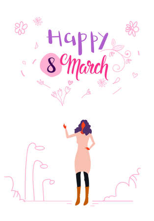 woman standing outdoor happy women day 8 march international holiday celebration concept female character full length cityscape vertical greeting card sketch vector illustration Illustration