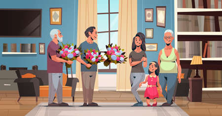happy multi generation family congratulating women with international 8 march day concept men giving flowers living room interior full length horizontal flat vector illustration