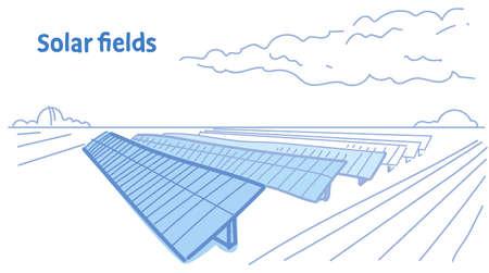 solar energy panel fields renewable station alternative electricity source concept photovoltaic district sketch flow style horizontal vector illustration