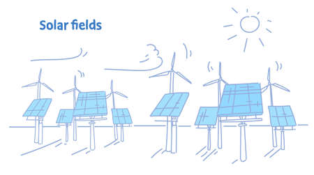 wind turbine solar energy panel fields renewable station alternative electricity source concept photovoltaic district sketch flow style horizontal vector illustration