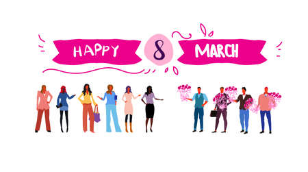 men giving flowers to mix race women international happy 8 march womens day concept white background full length greeting card sketch flow style horizontal vector illustration Stock Illustratie