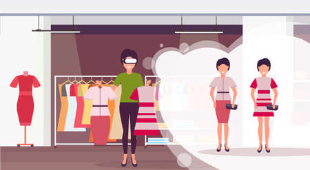 saleswoman holding dress wearing digital glasses virtual reality girls buyers headset vision concept female clothes shopping mall fashion boutique interior flat horizontal vector illustration