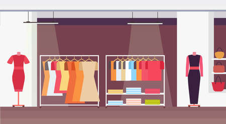 big fashion shop super market female clothes shopping mall interior modern boutique horizontal flat vector illustration
