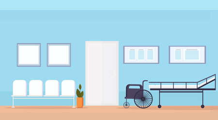 hospital waiting hall with seats bed and wheelchair medical equipment empty no people clinic interior horizontal flat vector illustration