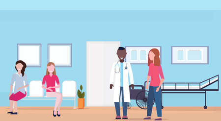 mix race patients with doctor at hospital waiting room healthcare consultation concept medical clinic interior full length horizontal flat vector illustration  イラスト・ベクター素材
