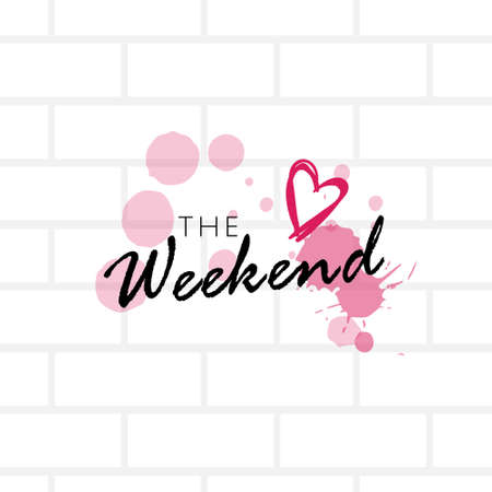 the weekend oncept calligraphy lettering poster gray bricks background sketch vector illustration Ilustração