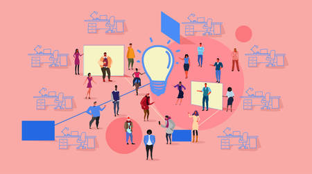 businesspeople group meeting brainstorming process mix race business people team thinking new creative innovation light lamp icon co-working office interior sketch horizontal vector illustration