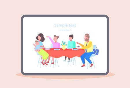 parents with children sitting cafe table enjoying the food people visitors having dinner and talking at family restaurant copy space full length flat horizontal vector illustration