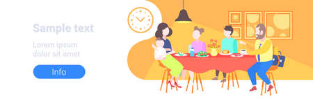parents with children sitting cafe table enjoying food family having dinner and talking together restaurant interior full length flat horizontal banner copy space vector illustration Illustration