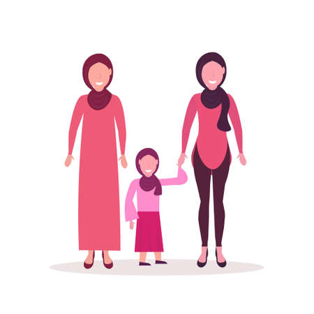 three generations arab women in hijab standing together muslim female characters full length flat vector illustration