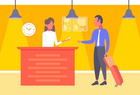businessman with baggage taking keys business man arrive to hotel check in woman receptionist registration at reception counter hall interior horizontal vector illustration