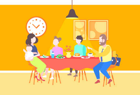 parents with children sitting cafe table enjoying food family having dinner and talking together restaurant interior full length flat horizontal vector illustration