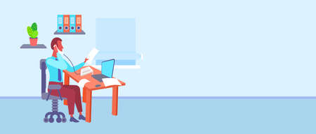 businessman sitting at desk in office looking at document while talking on phone using laptop business man hardworking process modern cabinet interior horizontal vector illustration