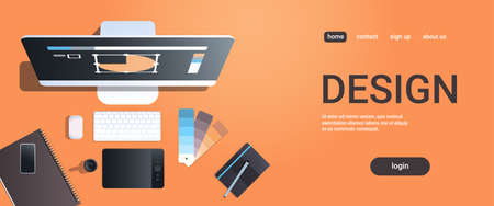 graphic designer creative workplace design studio concept top angle view desktop with digital tablet notepad color swatch office stuff copy space horizontal vector illustration