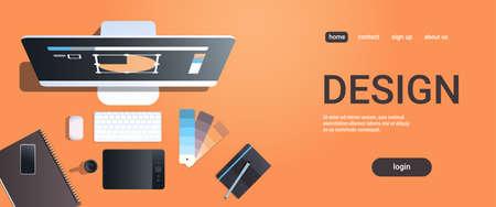 projektant graficzny kreatywne miejsce pracy studio projektowe koncepcja widok z góry pulpit z cyfrowym tabletem notatnik próbka koloru materiały biurowe kopia przestrzeń pozioma ilustracja wektorowa Ilustracje wektorowe