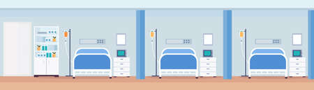 hospital room interior intensive therapy patient ward with medical tools row of nursing care bed empty no people modern clinic furniture horizontal vector illustration