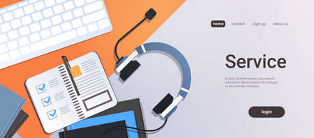 call center manager workplace support service concept top angle view desktop with headphones organizer notepad keyboard office stuff horizontal copy space vector illustration 免版税图像 - 124747675