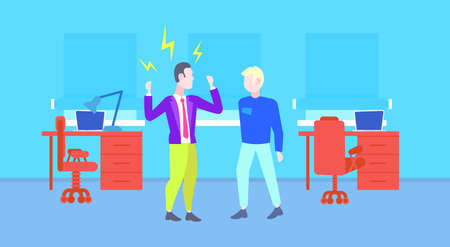 angry boss shouting at worker man reprimand of employer to employee bad job concept modern office interior full length flat horizontal vector illustration