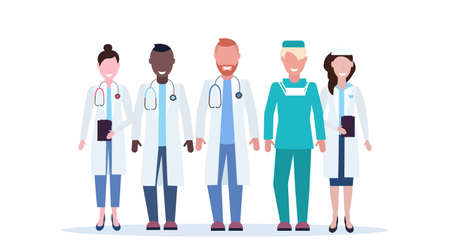 mix race group of medical doctors team in uniform standing together hospital medical clinic workers full length flat horizontal white background vector illustration