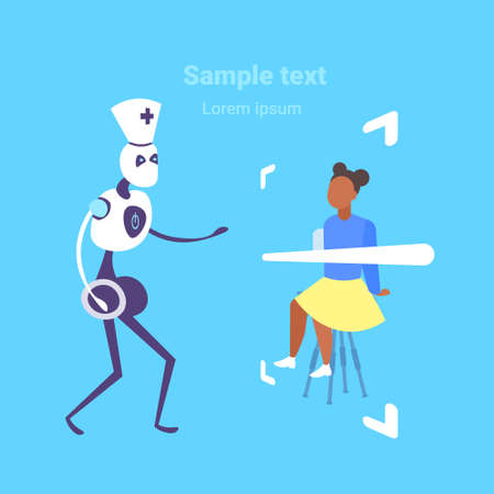 woman patient having consultation with humanoid robot doctor artificial intelligence assistance medicine healthcare concept full length flat copy space vector illustration
