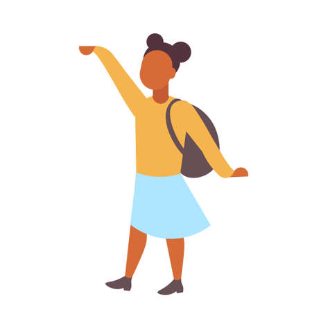 woman student standing with backpack african american casual girl female cartoon character full length flat isolated vector illustration