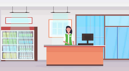 retail woman cashier at checkout counter supermarket saleswoman in uniform shopping concept grocery market interior flat horizontal vector illustration