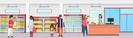 retail woman cashier at checkout supermarket mix race customers standing line queue shopping concept grocery market interior flat horizontal banner vector illustration Ilustração
