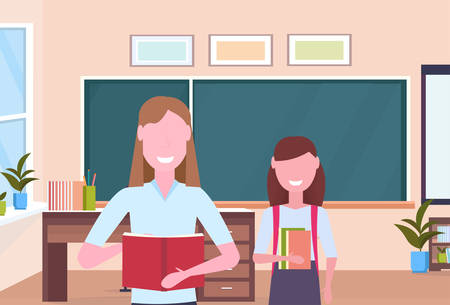 woman teacher with schoolgirl pupil standing over chalkboard modern school classroom interior female cartoon characters portrait horizontal flat vector illustration Illustration