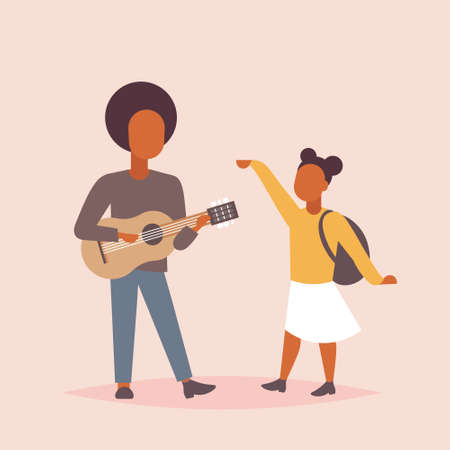 man musician singing and playing guitar woman dancing african american couple having fun together musical relax concept male female cartoon characters full length flat vector illustration Standard-Bild - 124747761