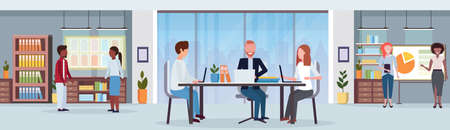 businesspeople brainstorming mix race colleagues meeting conference modern office interior workplace desk creative co-working center workspace flat horizontal banner vector illustration