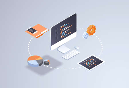software web site design development concept programming language program code big data processing on computer screen 3d isometric coding technologies flat horizontal vector illustration Reklamní fotografie - 124747771