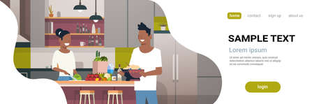 couple making dinner happy african american man woman cooking together at home modern kitchen interior male female portrait horizontal copy space flat vector illustration Banque d'images - 124747776