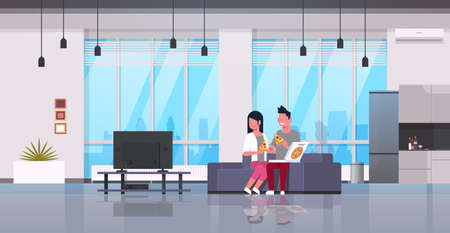 happy couple eating pizza man woman watching tv on couch modern apartment home interior male female cartoon characters flat horizontal vector illustration