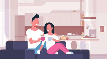 couple drinking tea coffee man woman sitting on couch happy lovers communicating modern kitchen interior male female cartoon characters full length horizontal vector illustration Banque d'images - 124747777